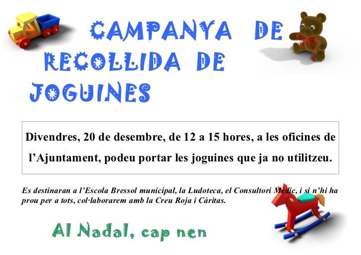 Campanya recollida de joguines