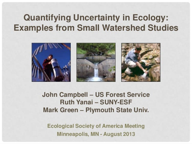 Quantifying Uncertainty in Ecology: Examples from Small Watershed Studies  John Campbell – US Forest Service Ruth Yanai – ...