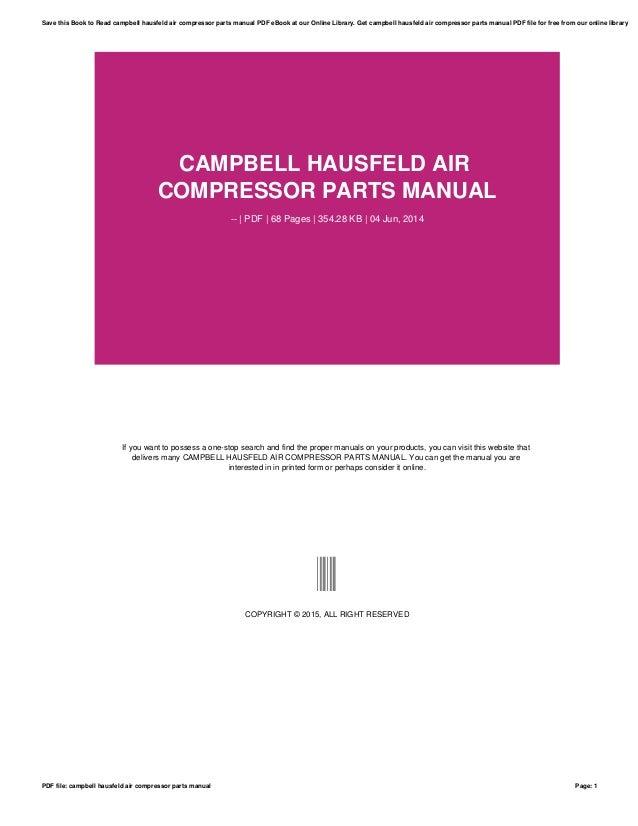 Campbell Hausfeld Air Compressor Parts Manual