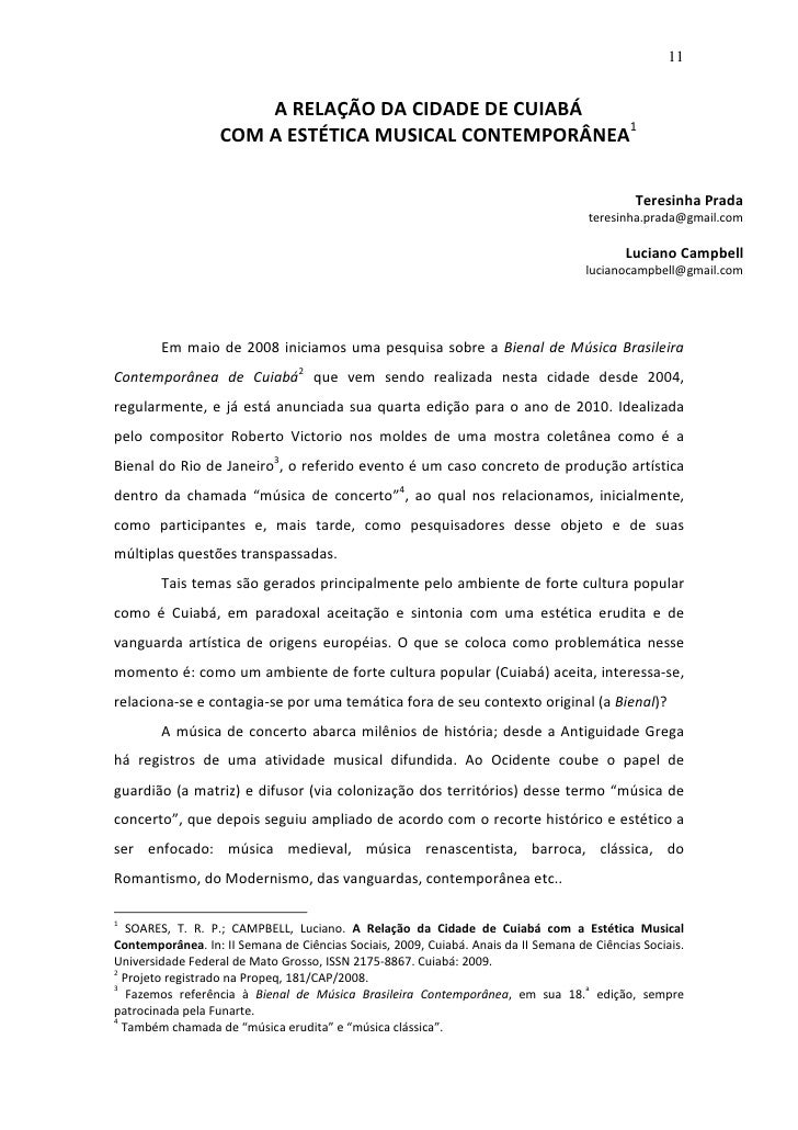 11                          A RELAÇÃO DA CIDADE DE CUIABÁ                    COM A ESTÉTICA MUSICAL CONTEMPORÂNEA1        ...