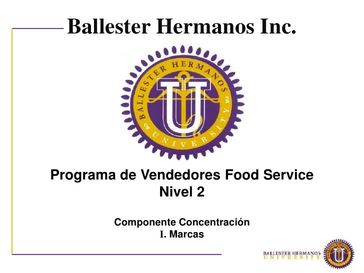 Ballester Hermanos Inc.Programa de Vendedores Food Service              Nivel 2        Componente Concentración           ...