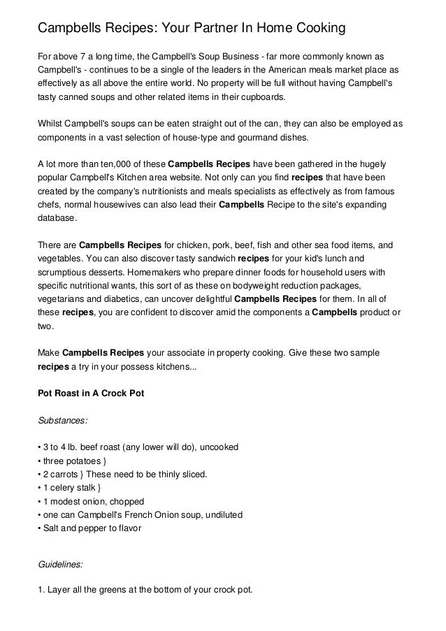 • • • • • • • 1. Campbells Recipes: Your Partner In Home Cooking For above 7 a long time, the Campbell's Soup Business - f...