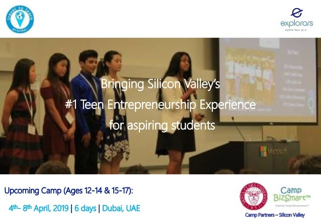 Bringing Silicon Valley's #1 Teen Entrepreneurship Experience for aspiring students Upcoming Camp (Ages 12-14 & 15-17): 4t...