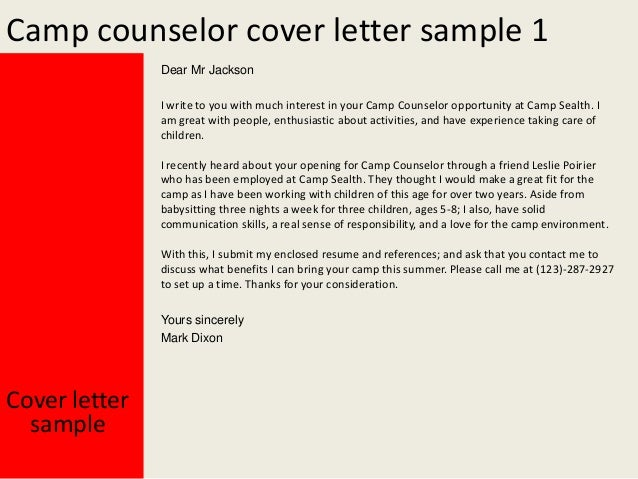 camp counselor cover letters