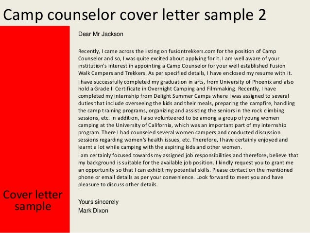 Yours Sincerely Mark Dixon Cover Letter Sample; 3. Camp Counselor ...