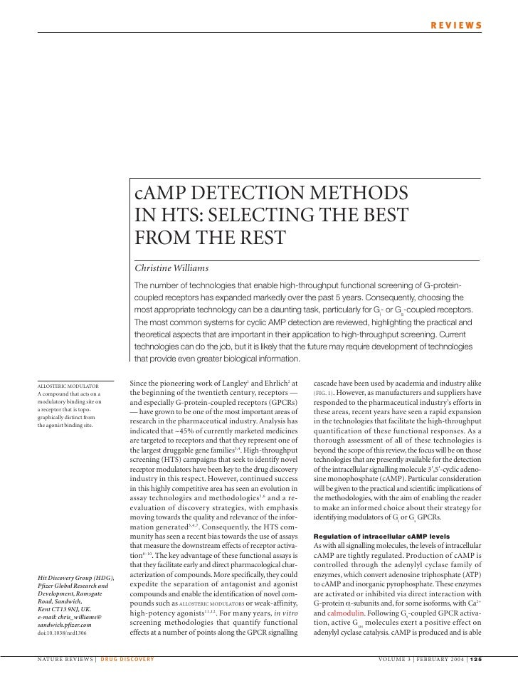 REVIEWS                                   cAMP DETECTION METHODS                               IN HTS: SELECTING THE BEST ...