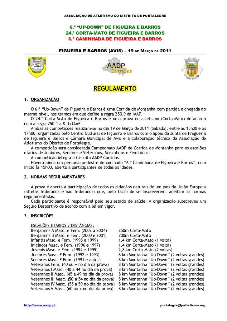 """ASSOCIAÇÃO DE ATLETISMO DO DISTRITO DE PORTALEGRE                        6.º """"UP-DOWN"""" DE FIGUEIRA E BARROS               ..."""