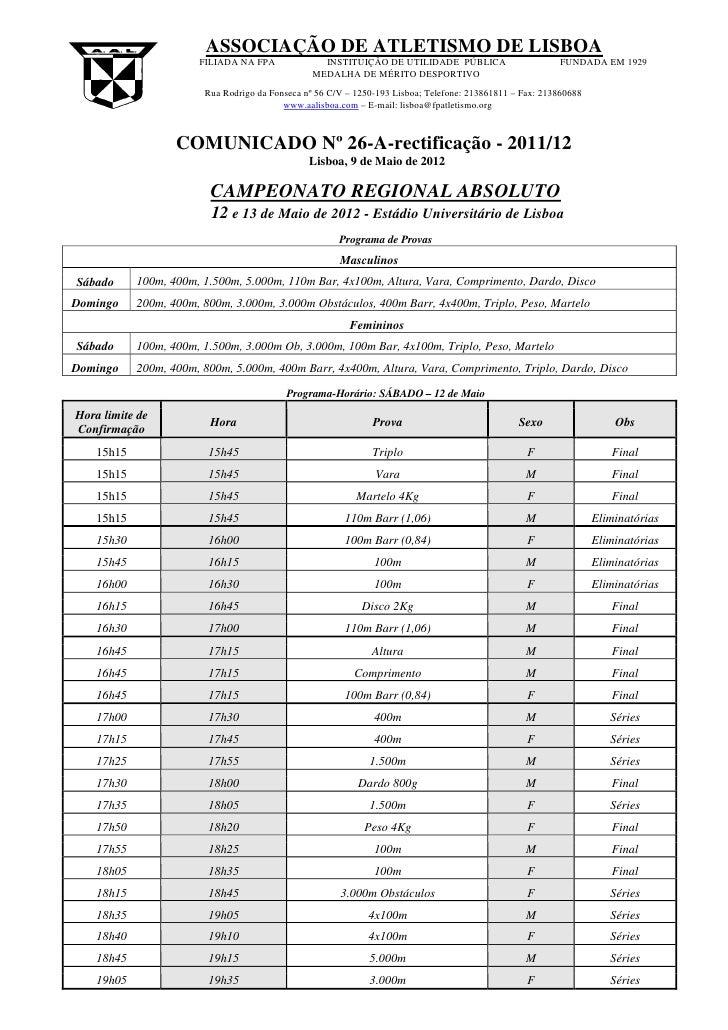 ASSOCIAÇÃO DE ATLETISMO DE LISBOA                       FILIADA NA FPA              INSTITUIÇÃO DE UTILIDADE PÚBLICA      ...