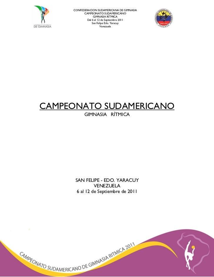 CONFEDERACION SUDAMERICANA DE GIMNASIA           CAMPEONATO SUDAMERICANO                  GIMNASIA RÍTMICA             Del...