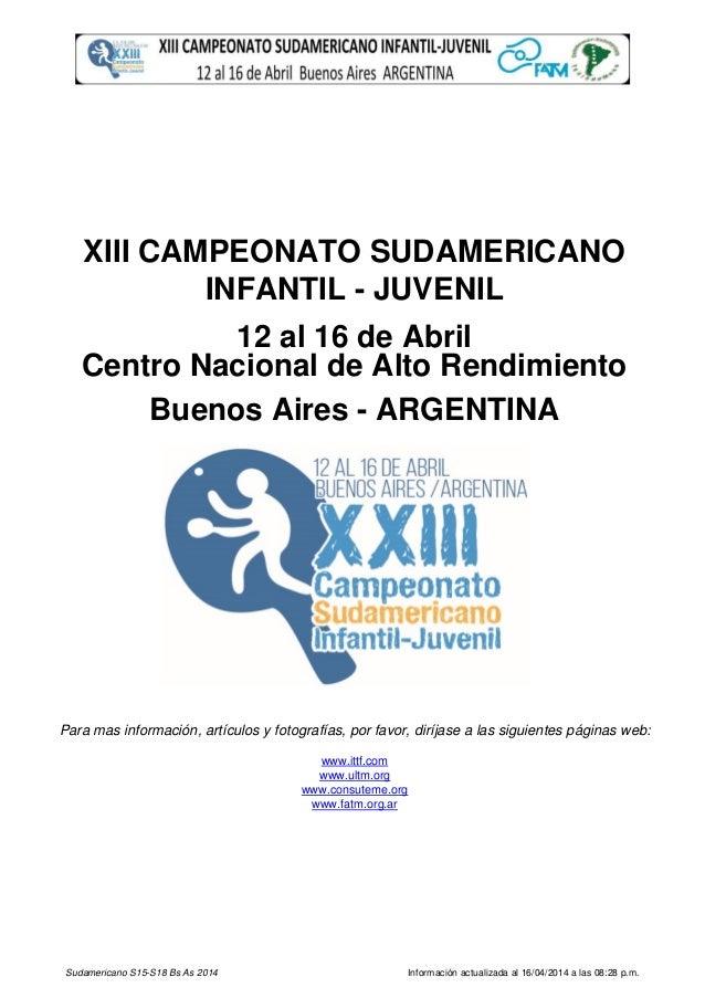 Sudamericano S15-S18 Bs As 2014 Información actualizada al 16/04/2014 a las 08:28 p.m. Para mas información, artículos y f...