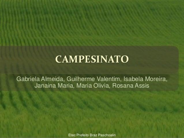 CAMPESINATO Gabriela Almeida, Guilherme Valentim, Isabela Moreira, Janaina Maria, Maria Olivia, Rosana Assis Etec Prefeito...