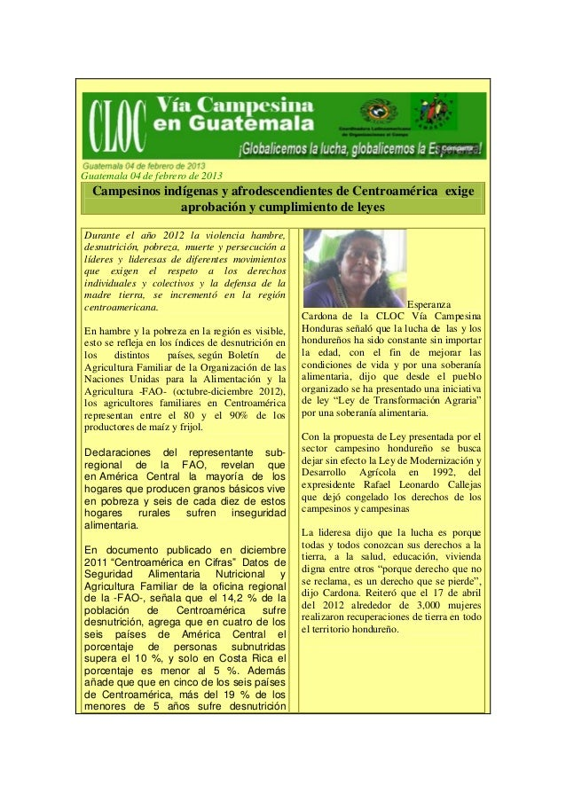 Guatemala 04 de febrero de 2013  Campesinos indígenas y afrodescendientes de Centroamérica exige                aprobación...