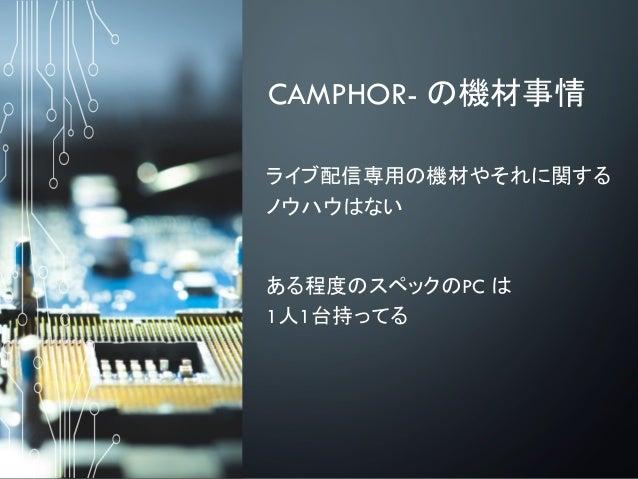 CAMPHOR- の機材事情 ライブ配信専用の機材やそれに関する ノウハウはない ある程度のスペックのPC は 1人1台持ってる