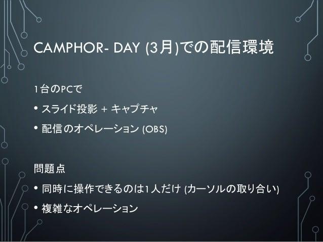 CAMPHOR- DAY (3月)での配信環境 1台のPCで • スライド投影 + キャプチャ • 配信のオペレーション (OBS) 問題点 • 同時に操作できるのは1人だけ (カーソルの取り合い) • 複雑なオペレーション