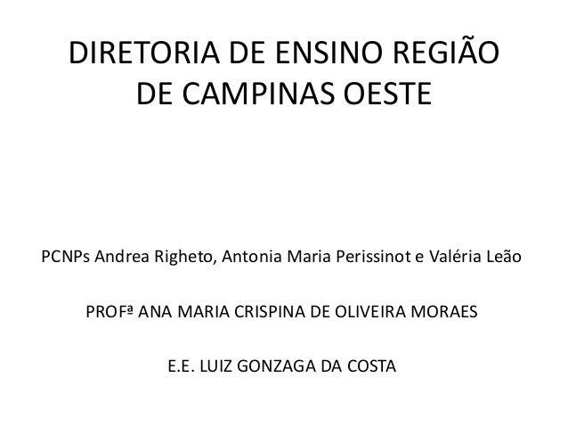 DIRETORIA DE ENSINO REGIÃO DE CAMPINAS OESTE  PCNPs Andrea Righeto, Antonia Maria Perissinot e Valéria Leão PROFª ANA MARI...