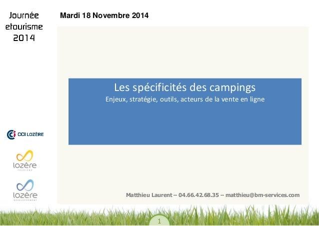 1  Les spécificités des campings Enjeux, stratégie, outils, acteurs de la vente en ligne  Matthieu Laurent – 04.66.42.68.3...
