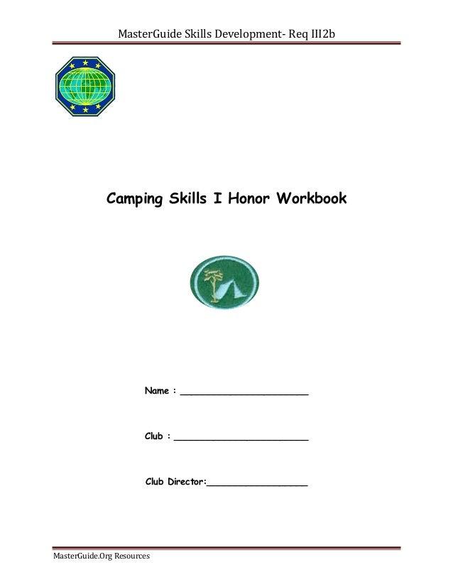 Camping Skills IIV Workbook MgC Req III2b – Pathfinder Honors Worksheets