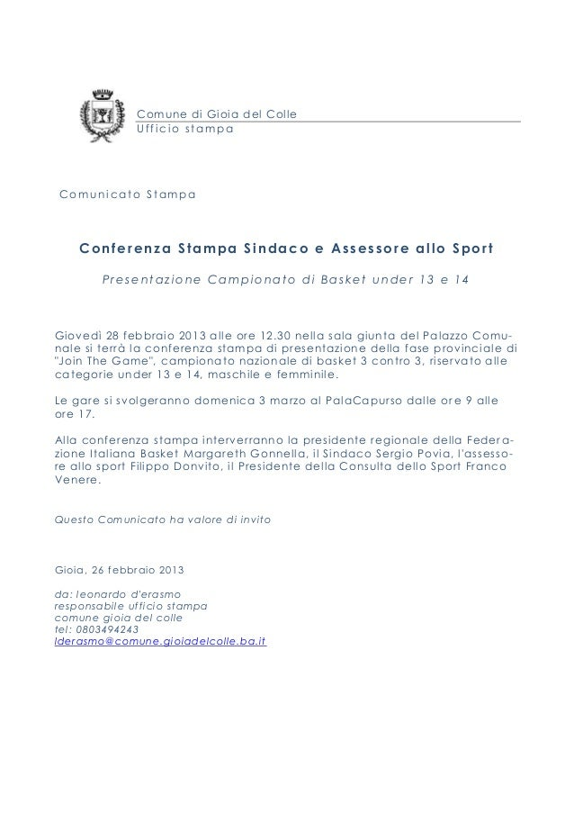 Comune di Gioia del Colle                    Ufficio stampa Comunicato Stampa      Conferenza Stampa Sindaco e Assessore a...