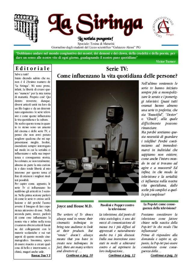 """La notizia pungente! Speciale: Tesina di Maturità Giornalino degli studenti del Liceo scientifico """"Galeazzo Alessi"""" PG  """"D..."""