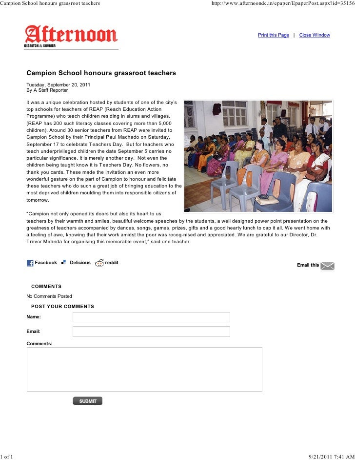 Campion School honours grassroot teachers                                               http://www.afternoondc.in/epaper/E...