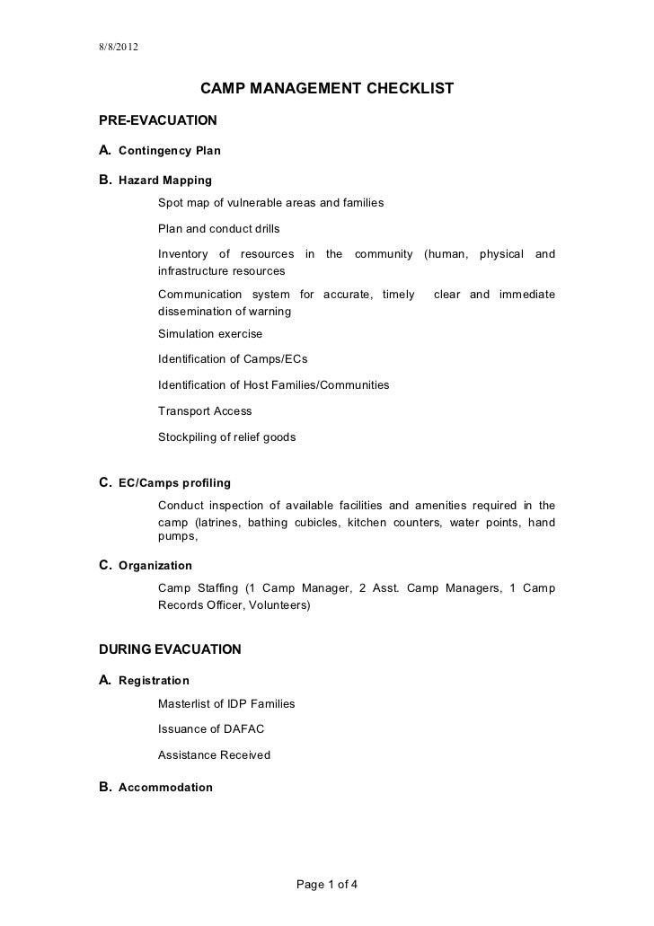 8/8/2012                   CAMP MANAGEMENT CHECKLISTPRE-EVACUATIONA. Contingency PlanB. Hazard Mapping           Spot map ...