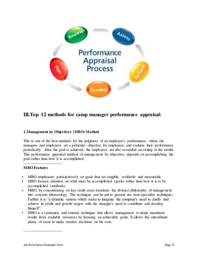 Job Performance Evaluation Form Page 12 III.Top 12 methods for camp manager performance appraisal: 1.Management by Objecti...