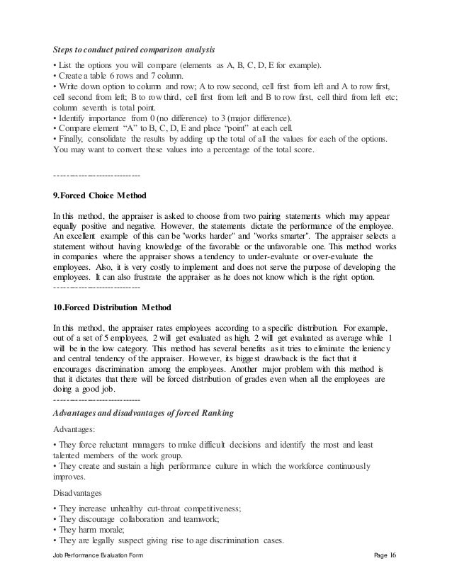 Job Performance Evaluation Form Page 16 Steps to conduct paired comparison analysis • List the options you will compare (e...