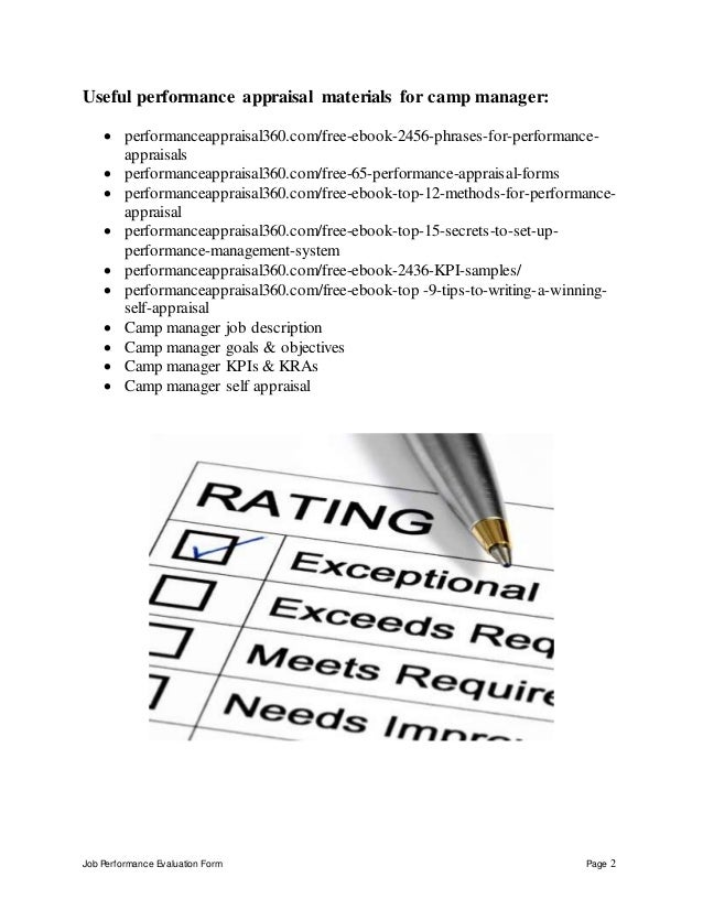 Job Performance Evaluation Form Page 2 Useful performance appraisal materials for camp manager:  performanceappraisal360....