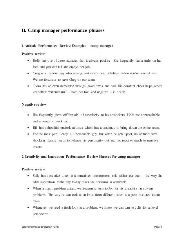 Job Performance Evaluation Form Page 8 II. Camp manager performance phrases 1.Attitude Performance Review Examples – camp ...