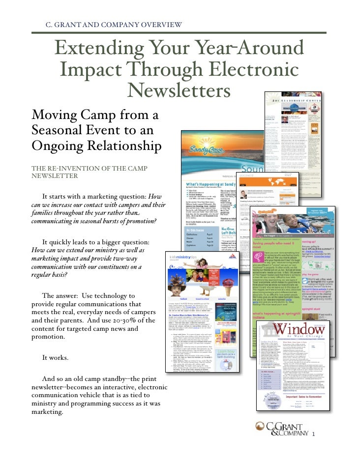 C. GRANT AND COMPANY OVERVIEW           Extending Your Year-Around         Impact Through Electronic                Newsle...