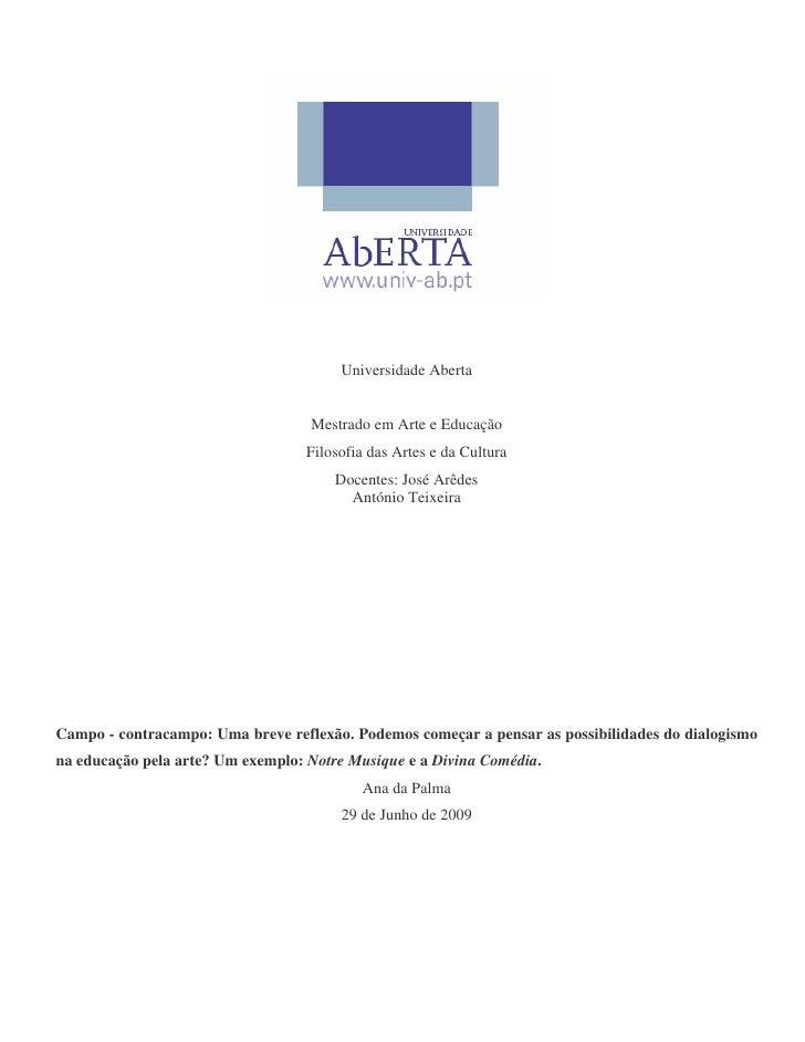 Universidade Aberta                                      Mestrado em Arte e Educação                                    Fi...