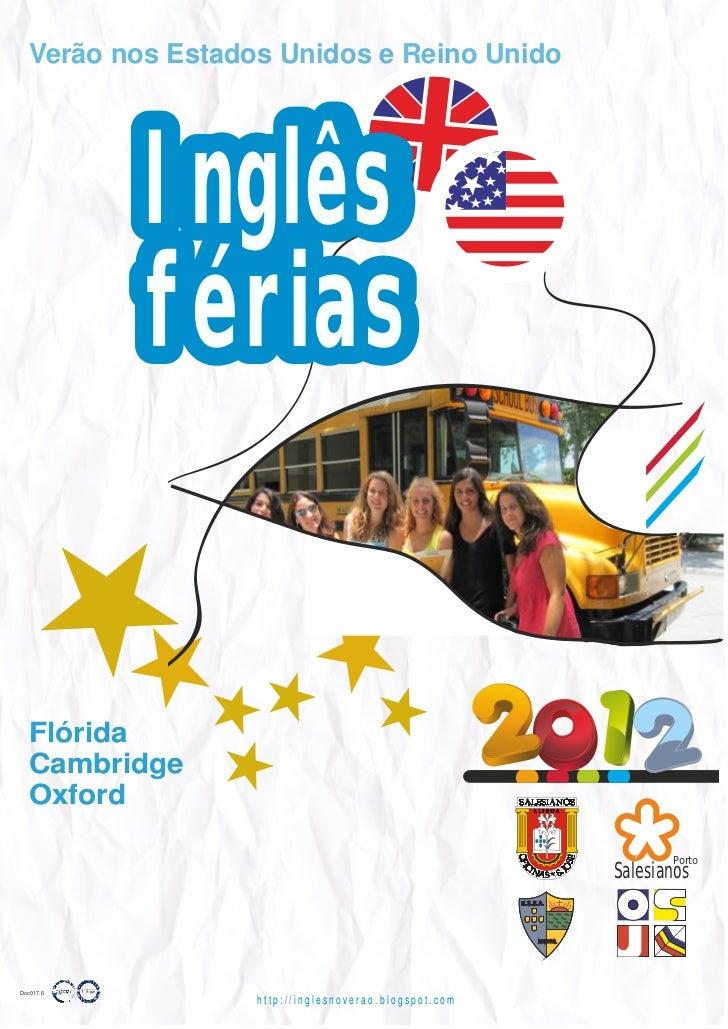 Verão nos Estados Unidos e Reino Unido           Inglês           férias  Flórida  Cambridge  Oxford                      ...