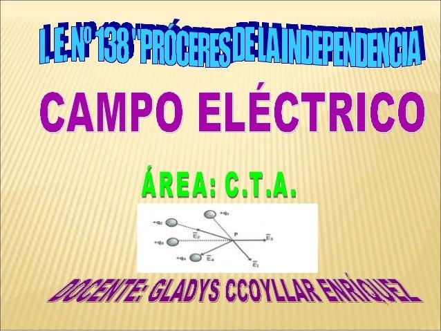 """CAMPO ELÉCTRICO CONCEPTO Toda carga eléctrica altera las propiedades del espacio que la rodea, el mismo que adquiere una """"..."""