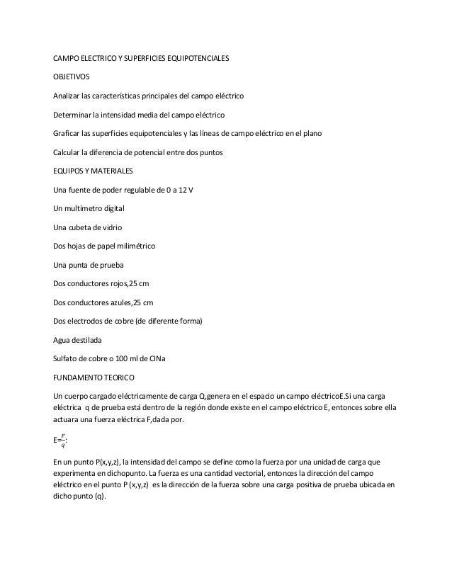 CAMPO ELECTRICO Y SUPERFICIES EQUIPOTENCIALESOBJETIVOSAnalizar las características principales del campo eléctricoDetermin...