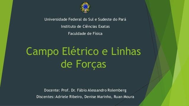 Campo Elétrico e Linhas de Forças Docente: Prof. Dr. Fábio Alessandro Rolemberg Discentes: Adriele Ribeiro, Denise Marinho...