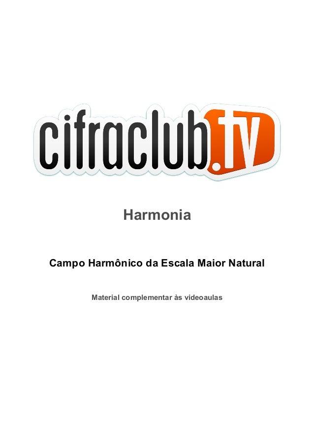 Harmonia Campo Harmônico da Escala Maior Natural Material complementar às videoaulas