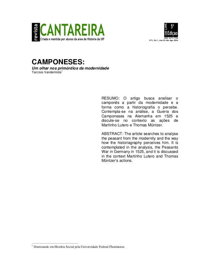 CAMPONESES:Um olhar nos primórdios da modernidadeTarcísio Vanderlinde1                                                    ...