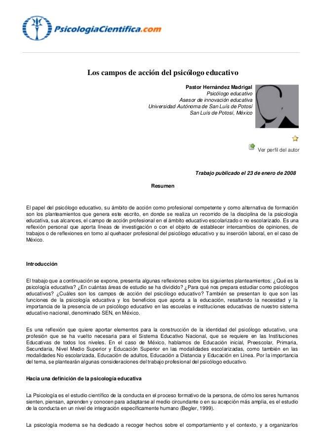 Campos de accion del psicologo educativo for La accion educativa en el exterior