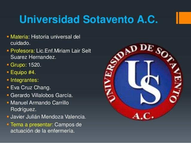 Universidad Sotavento A.C.   Materia: Historia universal del  cuidado.   Profesora: Lic.Enf.Miriam Lair Selt  Suarez Her...