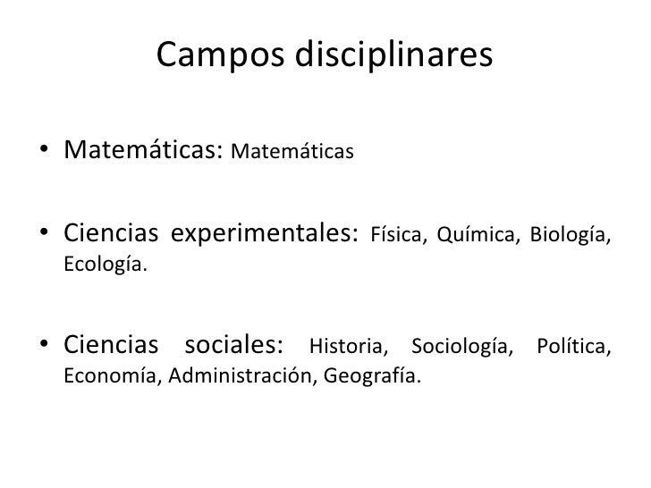 Campos Disciplinares Slide 2