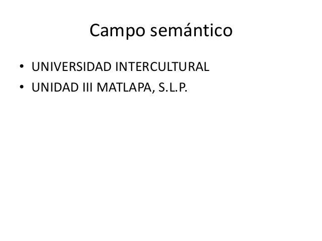 Campo semántico • UNIVERSIDAD INTERCULTURAL • UNIDAD III MATLAPA, S.L.P.