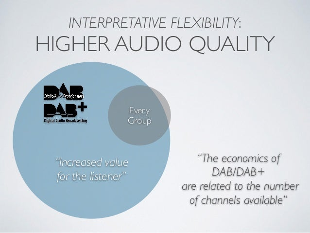 """INTERPRETATIVE FLEXIBILITY: HIGHER AUDIO QUALITY Every Group """"Increased value for the listener"""" """"The economics of DAB/DAB+..."""