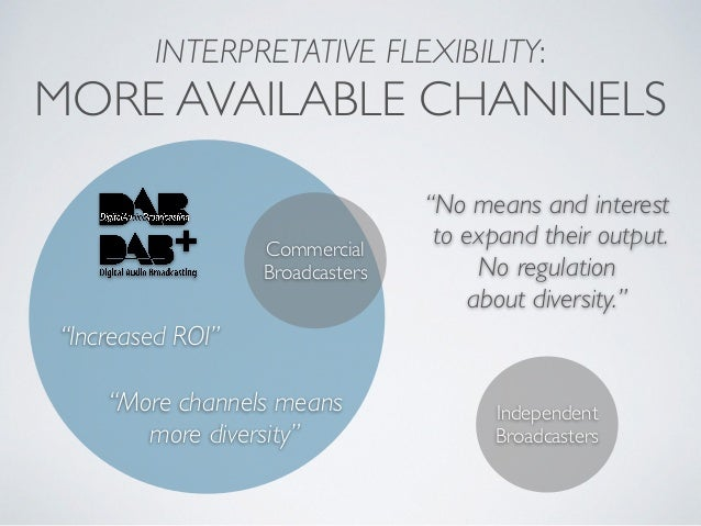 """INTERPRETATIVE FLEXIBILITY: MORE AVAILABLE CHANNELS Commercial Broadcasters """"Increased ROI"""" """"More channels means more dive..."""