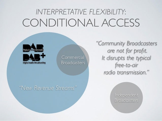 """INTERPRETATIVE FLEXIBILITY: CONDITIONAL ACCESS Commercial Broadcasters """"New Revenue Streams"""" Independent Broadcasters """"Com..."""