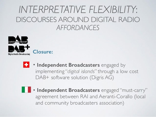 INTERPRETATIVE FLEXIBILITY: DISCOURSES AROUND DIGITAL RADIO AFFORDANCES Closure: • Independent Broadcasters engaged by imp...
