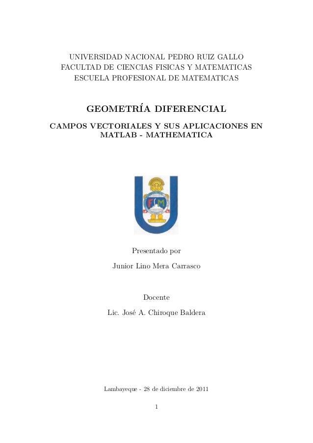 UNIVERSIDAD NACIONAL PEDRO RUIZ GALLO FACULTAD DE CIENCIAS FISICAS Y MATEMATICAS ESCUELA PROFESIONAL DE MATEMATICAS GEOMET...