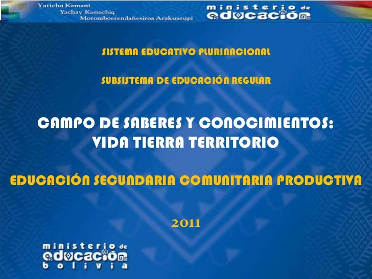 SISTEMA EDUCATIVO PLURINACIONAL           SUBSISTEMA DE EDUCACIÓN REGULAR   CAMPO DE SABERES Y CONOCIMIENTOS:        VIDA ...