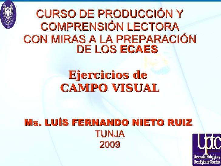 <ul><li>CURSO DE PRODUCCIÓN Y </li></ul><ul><li>COMPRENSIÓN LECTORA </li></ul><ul><li>CON MIRAS A LA PREPARACIÓN DE LOS  E...