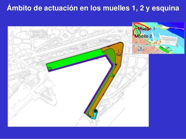 Ámbito de actuación en los muelles 1, 2 y esquina Muelle 1 Muelle 2