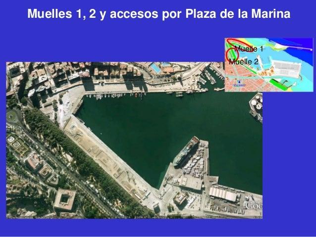 Muelles 1, 2 y accesos por Plaza de la Marina Muelle 1 Muelle 2
